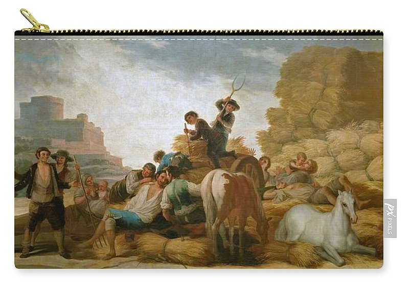 1786 Carry-all Pouch featuring the painting The Threshing Floor - Summer by Francisco Goya