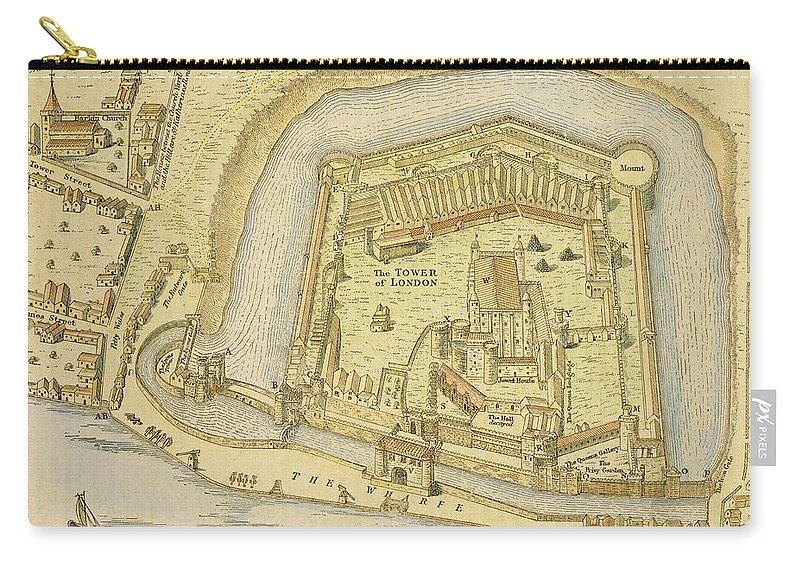 Print Carry-all Pouch featuring the drawing The Tower Of London, From A Survey Made by English School