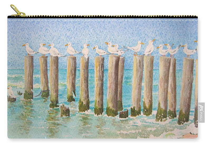 Seagulls Carry-all Pouch featuring the painting The Town Meeting by Mary Ellen Mueller Legault