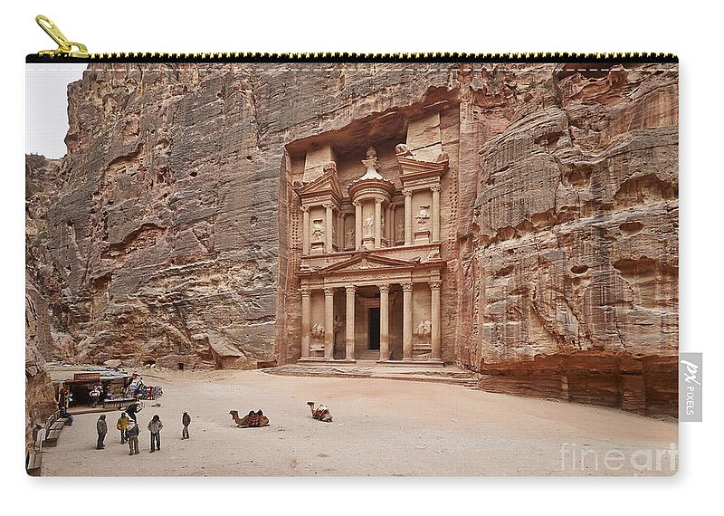 Jordan Carry-all Pouch featuring the photograph the treasury Nabataean ancient town Petra by Juergen Ritterbach