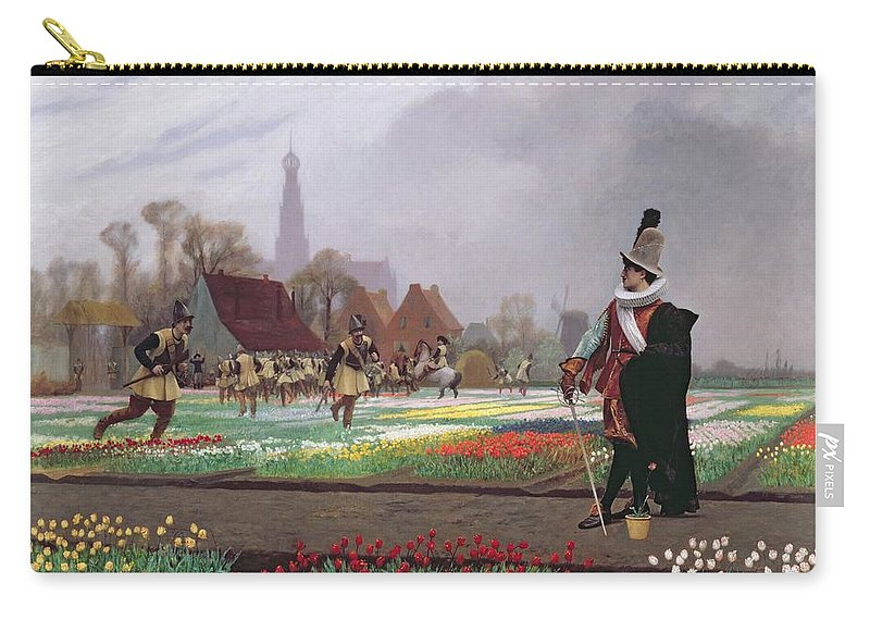 Soldiers; Soldier; Ruff; Hat; Traditional Costume; Dutch; Cathedral Tower; Playing; Fields Of Tulips; Field; Colorful; Crop; Farm; Path; Horticulture; Holland; Commodity; Tulipomania Carry-all Pouch featuring the painting The Tulip Folly by Jean Leon Gerome