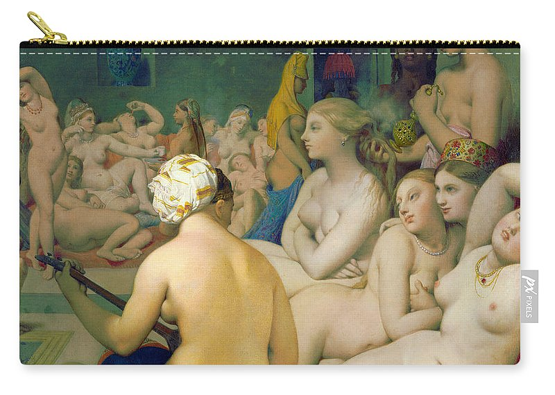 1862 Carry-all Pouch featuring the painting The Turkish Bath by Jean-Auguste-Dominique Ingres