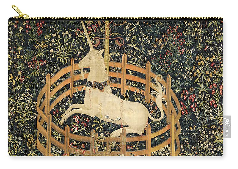 Mythology Carry-all Pouch featuring the tapestry - textile The Unicorn In Captivity by Unknown
