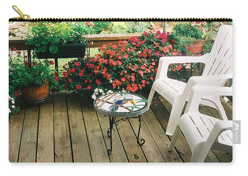 Flowers Carry-all Pouch featuring the photograph The Upper Deck With Stain Glass Table by Alan Lakin