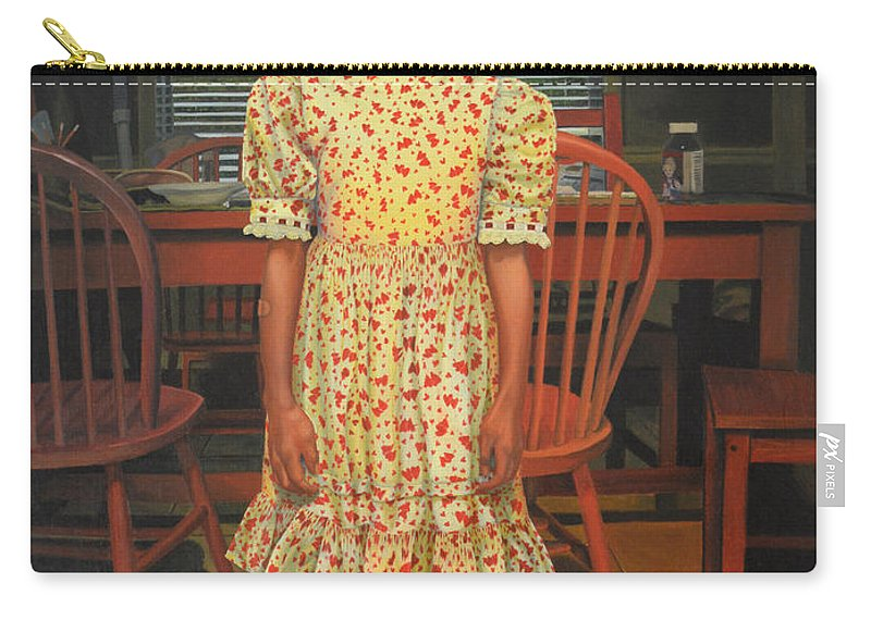 Children Paintings Carry-all Pouch featuring the painting The Valentine Dress by Thu Nguyen