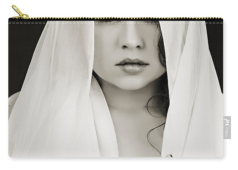 Nude Carry-all Pouch featuring the photograph The Veil 1057.01 by Kendree Miller