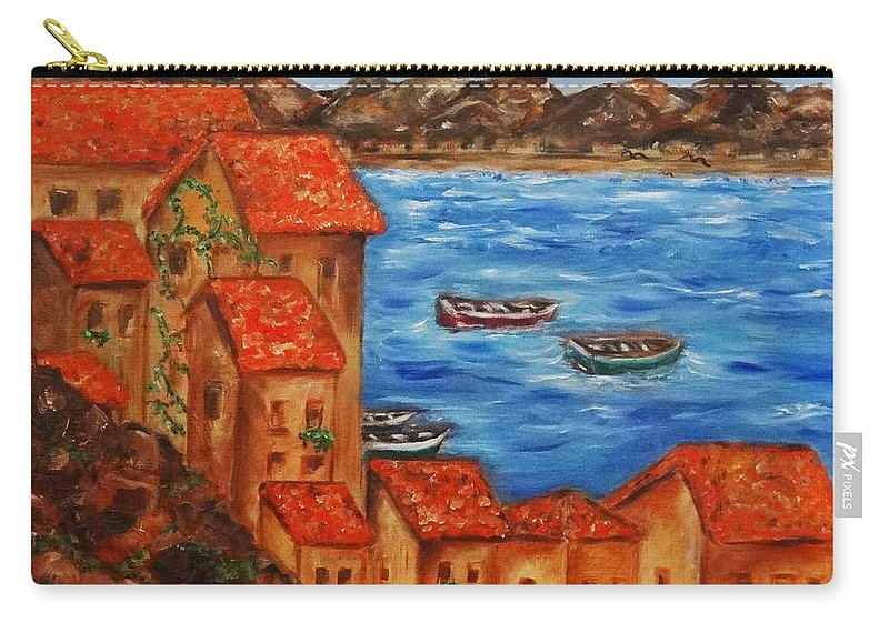 Village Carry-all Pouch featuring the painting The Village by Liz Pritchett