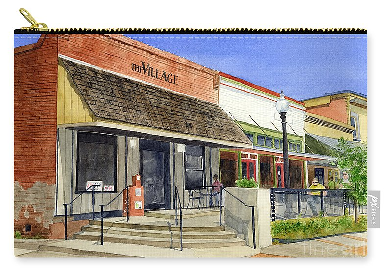Downtown Carry-all Pouch featuring the painting The Village by Hailey E Herrera