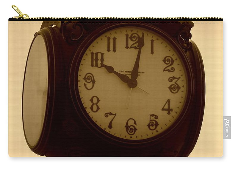Acrylic Prints Carry-all Pouch featuring the photograph The Vintage Town Clock by Bobbee Rickard