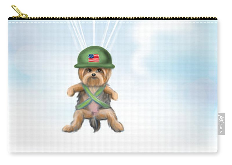 War Carry-all Pouch featuring the mixed media The War Hero by Catia Lee
