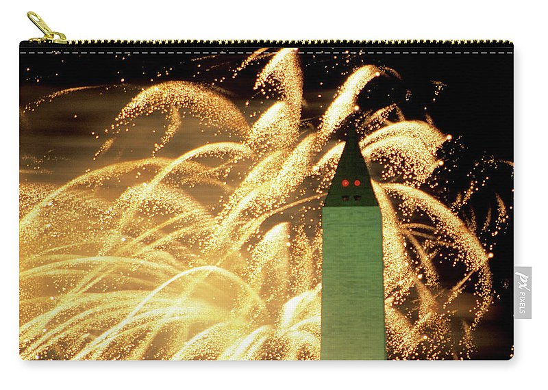 Firework Display Carry-all Pouch featuring the photograph The Washington Monument And Fireworks by Hisham Ibrahim