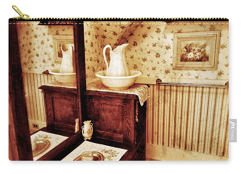 Water Pitcher And Wash Basin Carry-all Pouch featuring the photograph The Water Pitcher And Wash Basin by Jean Goodwin Brooks