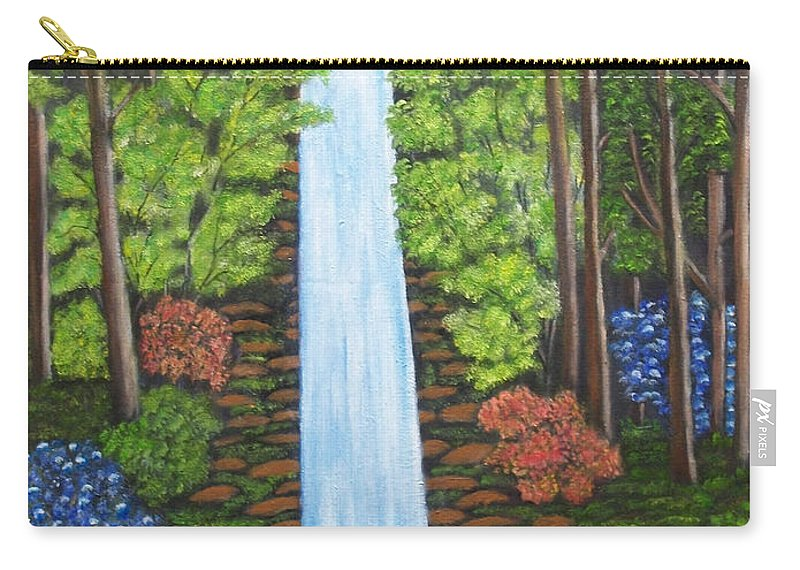 Landscapes Carry-all Pouch featuring the painting The Waterfall by Brenda Drain