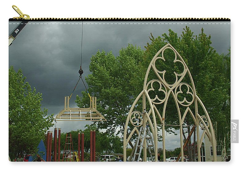 A Wedding Gazebo With Gothic Widows. Carry-all Pouch featuring the photograph The Wedding Place Install by Peter Piatt