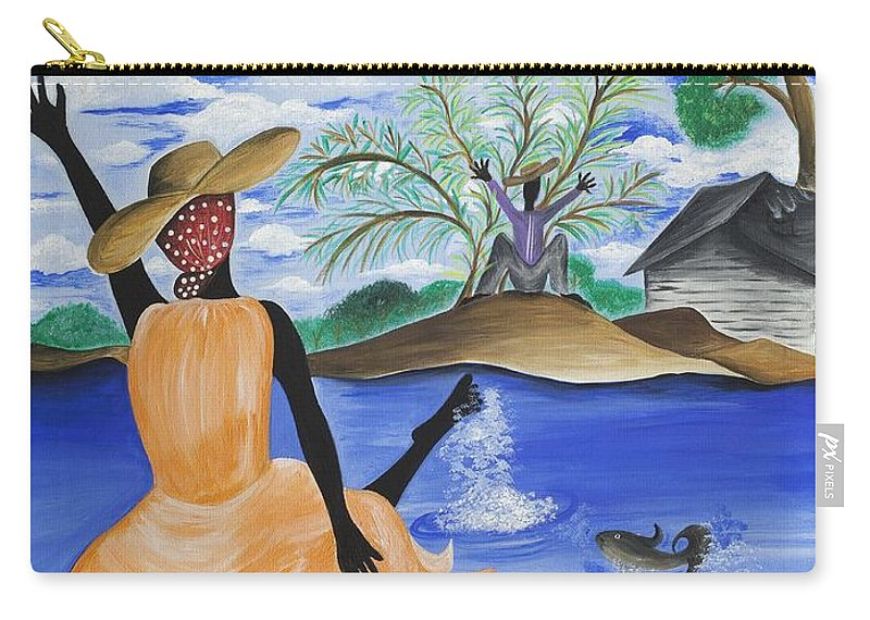 Gullah Art Carry-all Pouch featuring the painting The Welcome River by Patricia Sabree