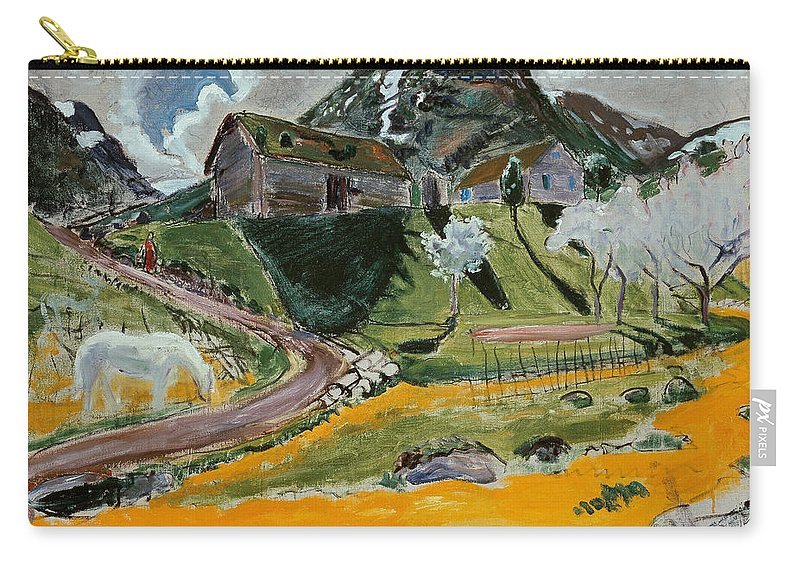 Nikolai Astrup Carry-all Pouch featuring the painting The White Horse In Spring by Nikolai Astrup