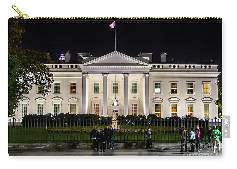 Night Carry-all Pouch featuring the photograph The White House by Jerry Fornarotto