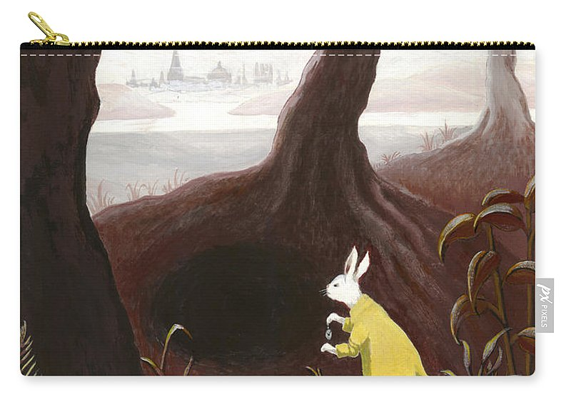 White Rabbit Carry-all Pouch featuring the painting The White Rabbit by Suzette Broad