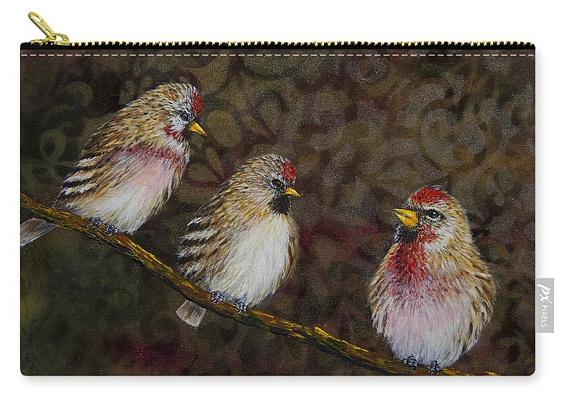 Red Poll Carry-all Pouch featuring the painting The Wisdom Of Elders by Dee Carpenter