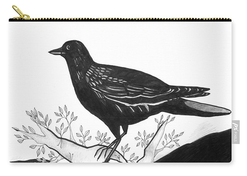 Bird Carry-all Pouch featuring the drawing The Witness by Helena Tiainen