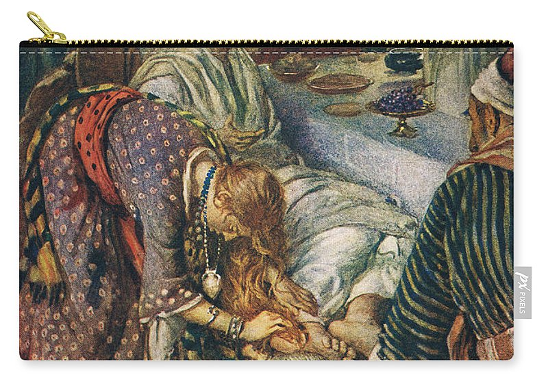 Son Of God Carry-all Pouch featuring the painting The Woman With The Box Of Ointment by Harold Copping