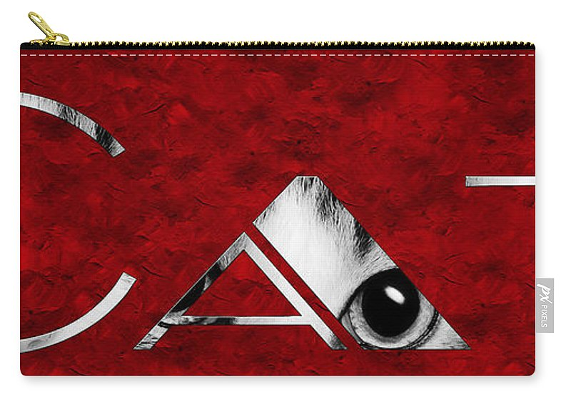 Andee Design Cat Carry-all Pouch featuring the photograph The Word Is Cat Bw On Red by Andee Design