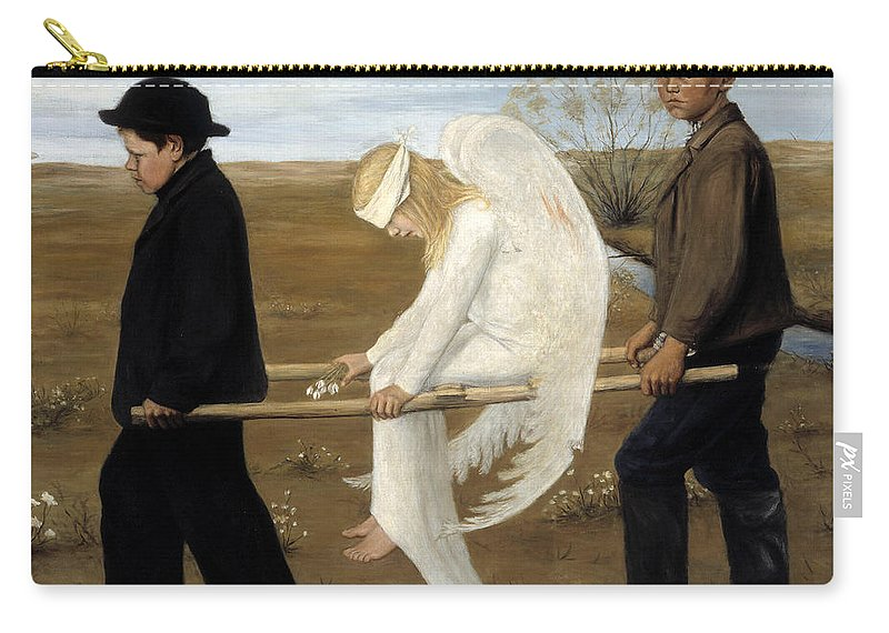 Hugo Simberg Carry-all Pouch featuring the painting The Wounded Angel by Hugo Simberg
