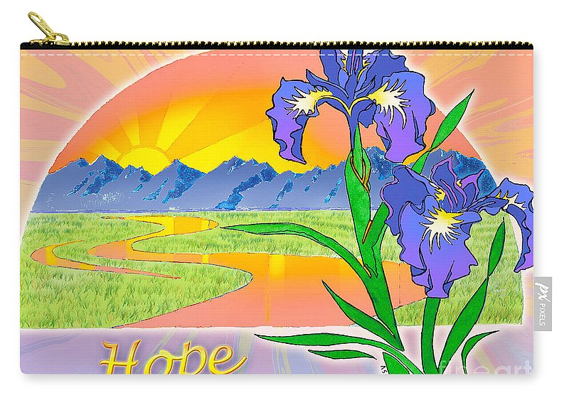 Sunrise Carry-all Pouch featuring the painting Themes Of The Heart-hope by Teresa Ascone