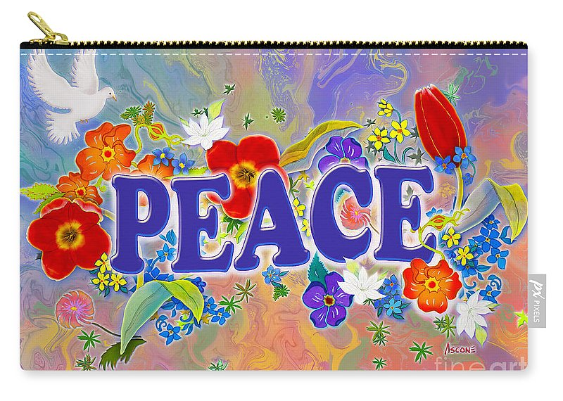 Peace Carry-all Pouch featuring the painting Themes Of The Heart-peace by Teresa Ascone