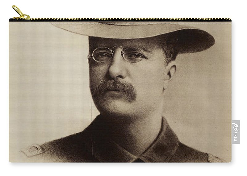 Theodore Roosevelt Carry-all Pouch featuring the drawing Theodore Roosevelt 1898 by Mountain Dreams