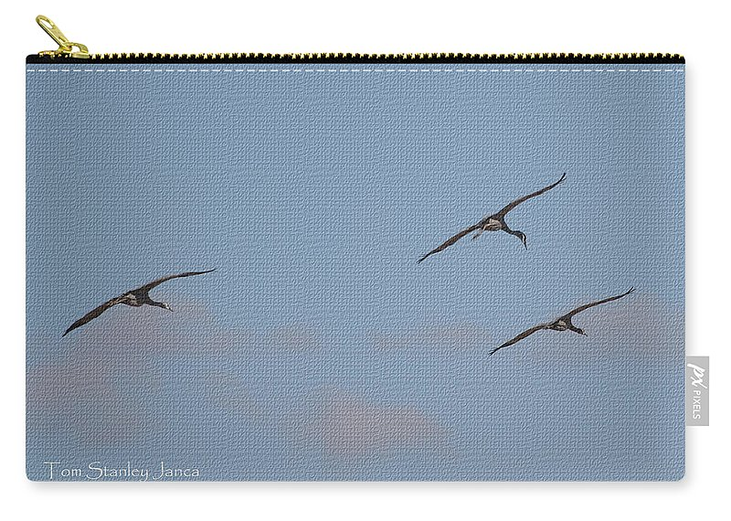 There 's Are Spot Carry-all Pouch featuring the photograph There 's Our Spot Said The Sand Hill Crane by Tom Janca