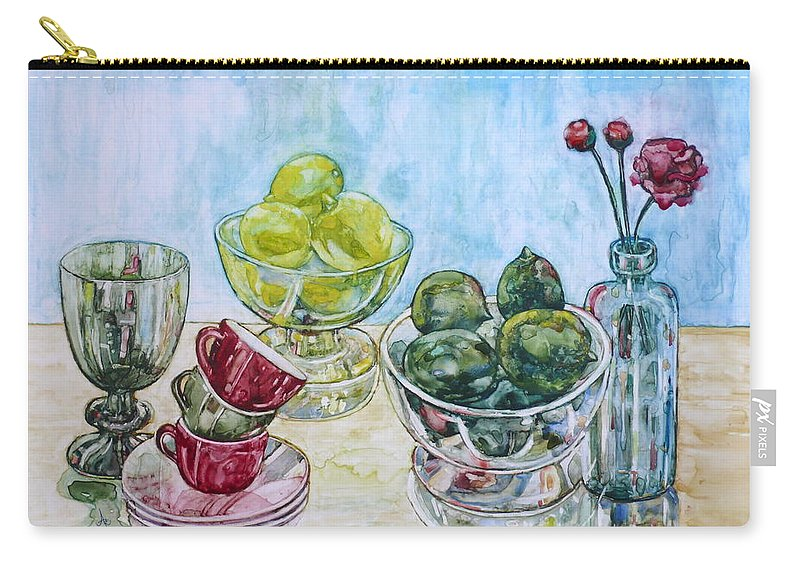 Lemon Carry-all Pouch featuring the painting Thinking Of Cezanne Green by Anna Ruzsan