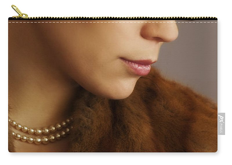 Woman; Lady; Female; Beautiful; Elegant; Formal; Fur; Coat; Neck; Chin; Pearls; String; Wealthy; Expensive; Lips; Lipstick; Looking Down; In Thought; Sad; Depressed; Loss; Caucasian Carry-all Pouch featuring the photograph Thinking Of The Past by Margie Hurwich