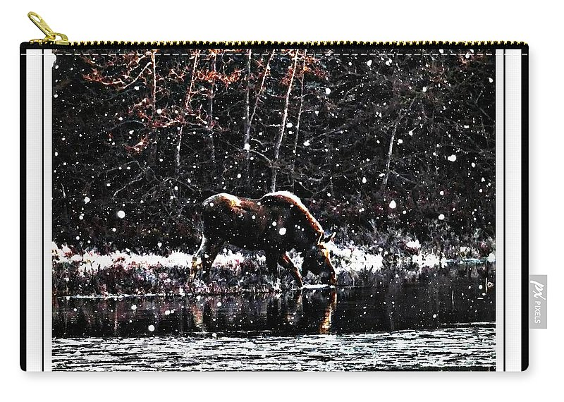 Thirsty Moose Impressionistic Painting With Borders Carry-all Pouch featuring the photograph Thirsty Moose Impressionistic Painting With Borders by Barbara Griffin