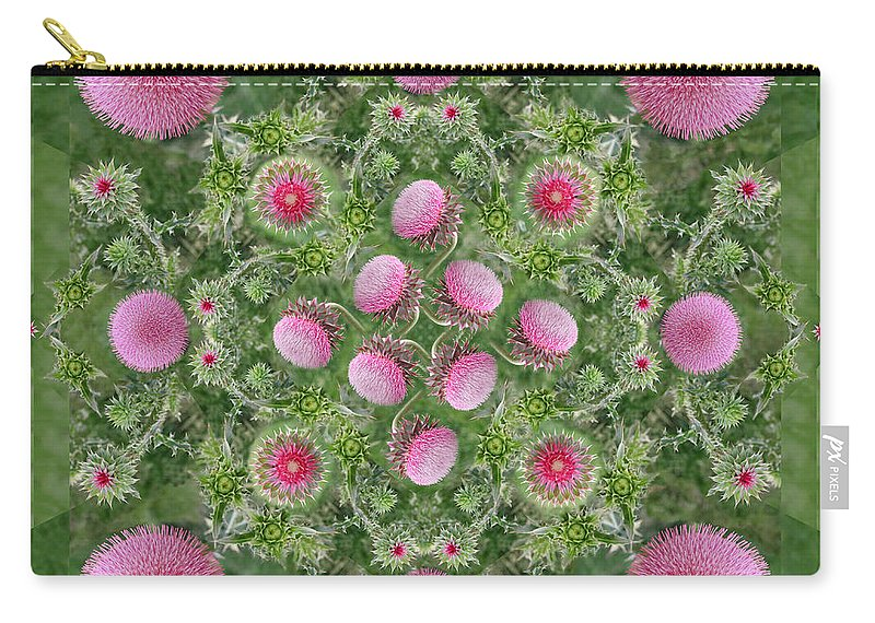 Rainbow Carry-all Pouch featuring the photograph Thistle Star Mandala by Susan Bloom