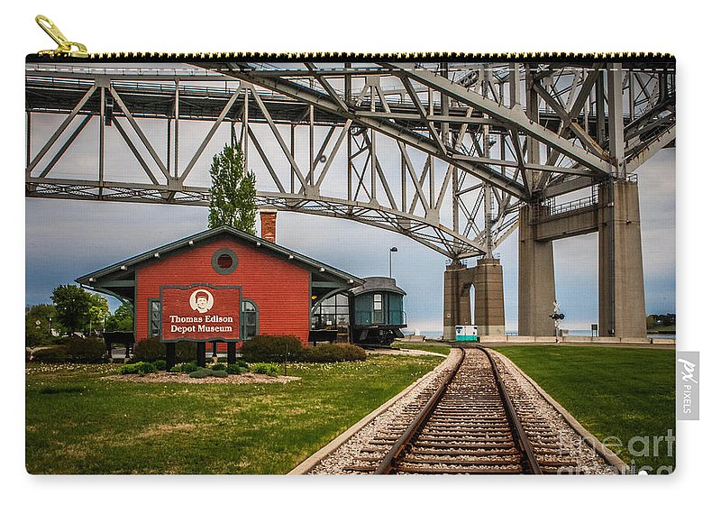 Thomas Edison Depot Museum Carry-all Pouch featuring the photograph Thomas Edison Museum And Rr Track by Grace Grogan