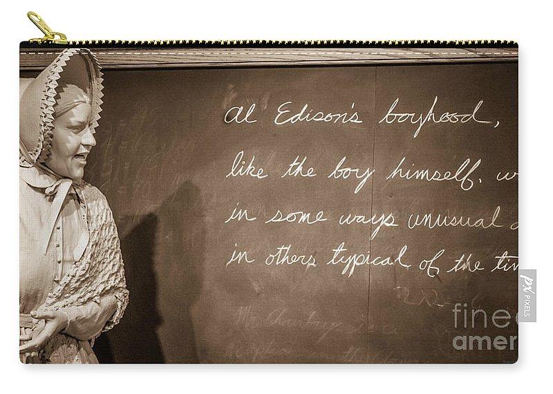 Thomas Edison Carry-all Pouch featuring the photograph Thomas Edison's Boyhood School by Grace Grogan