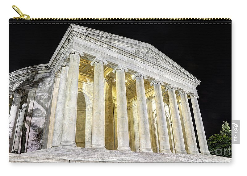 Jefferson Memorial Carry-all Pouch featuring the photograph Thomas Jefferson Memorial At Night by Gary Whitton