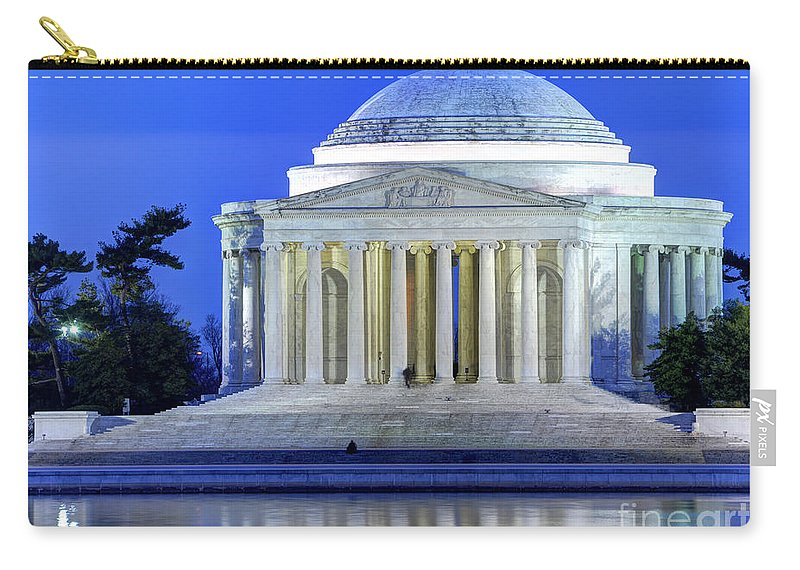 Jefferson Memorial Carry-all Pouch featuring the photograph Thomas Jefferson Memorial At Night Reflected In Tidal Basin by Gary Whitton