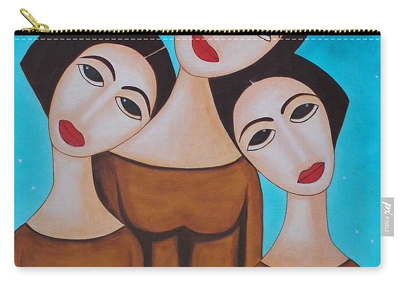 Oil Carry-all Pouch featuring the painting Three Angels by Sonali Kukreja