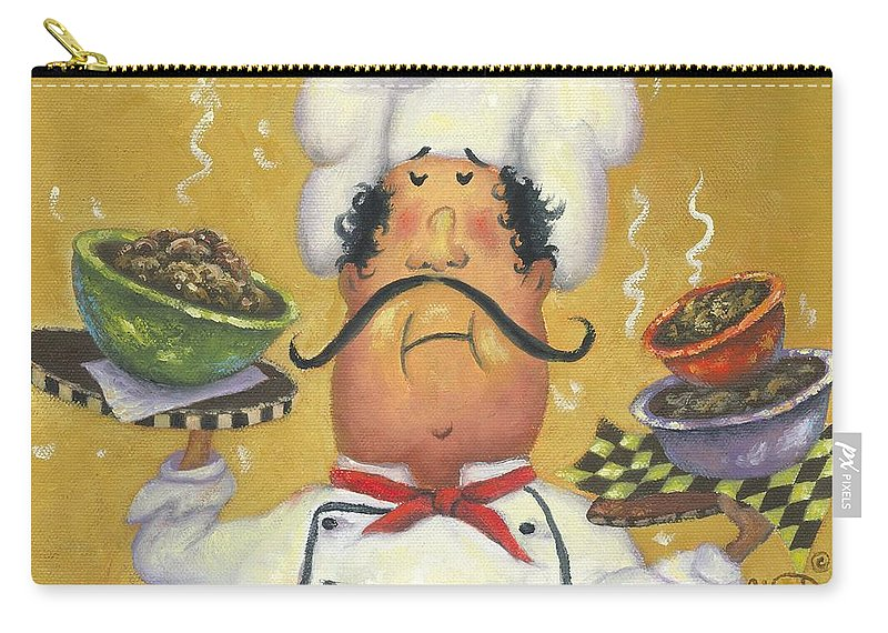 Chef Carry-all Pouch featuring the painting Three Bowl Chef On Gold by Vickie Wade