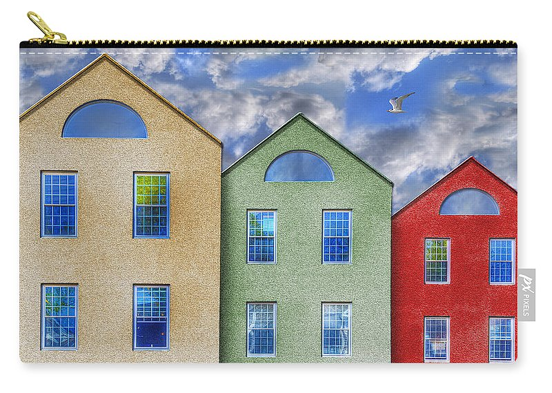 Photography Carry-all Pouch featuring the photograph Three Buildings And A Bird by Paul Wear