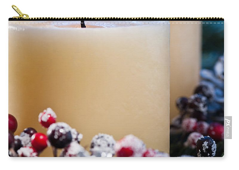 Holly Carry-all Pouch featuring the photograph Three Burning Candles by U Schade
