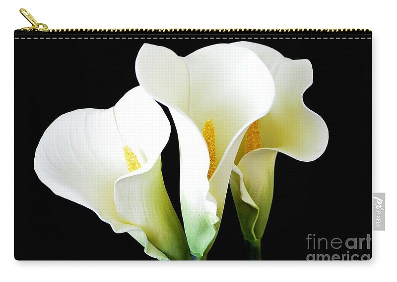 Calla Lilies Carry-all Pouch featuring the photograph Three Calla Lilies On Black by Mary Deal