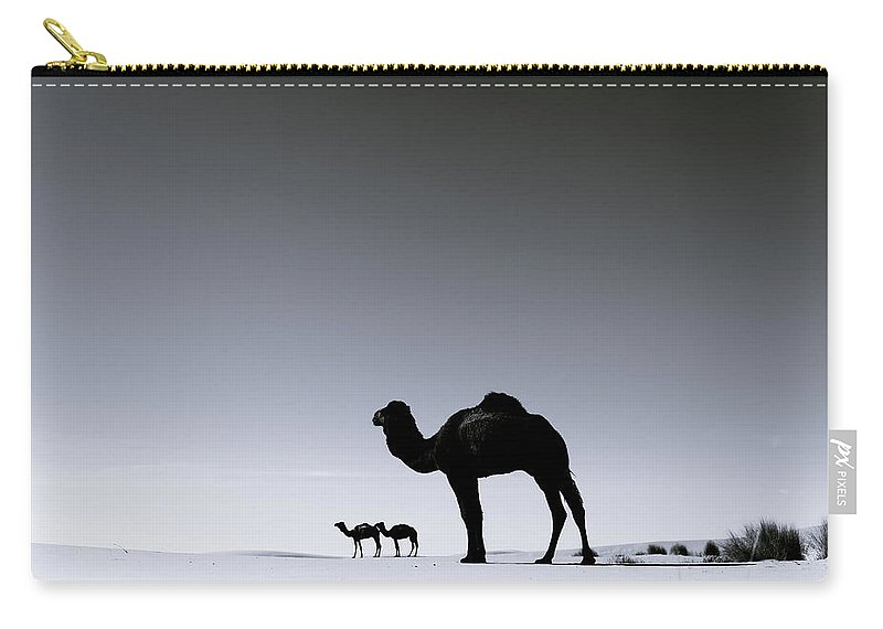 Scenics Carry-all Pouch featuring the photograph Three Camels In The Sahara Desert by Zodebala
