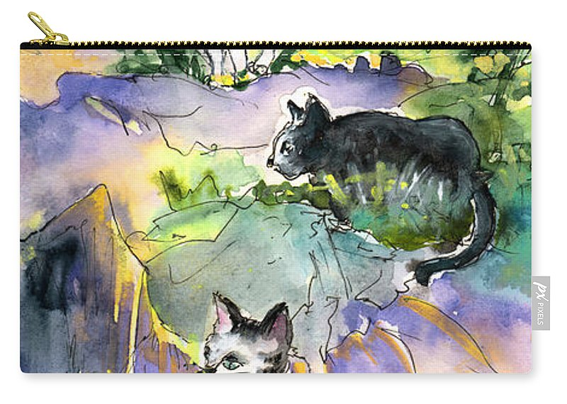 Travel Carry-all Pouch featuring the painting Three Cats On The Penon De Ifach by Miki De Goodaboom