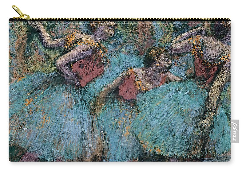 Edgar Degas Carry-all Pouch featuring the painting Three Dancers.blue Tutus Red Bodices by Edgar Degas