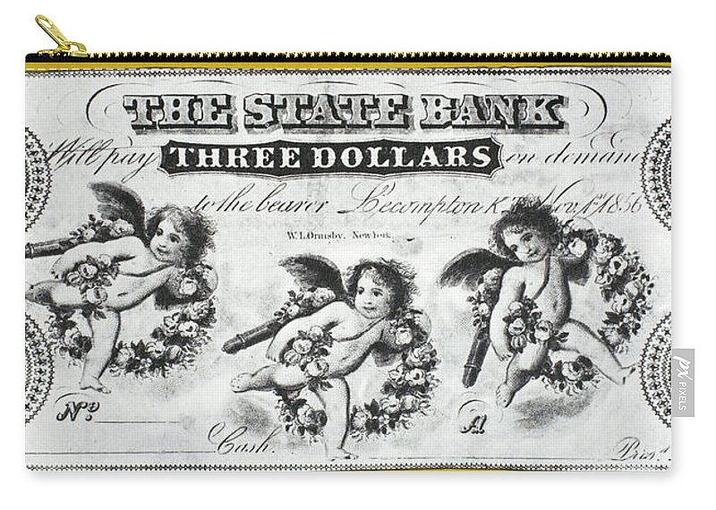 1856 Carry-all Pouch featuring the painting Three Dollar Bill, 1856 by Granger