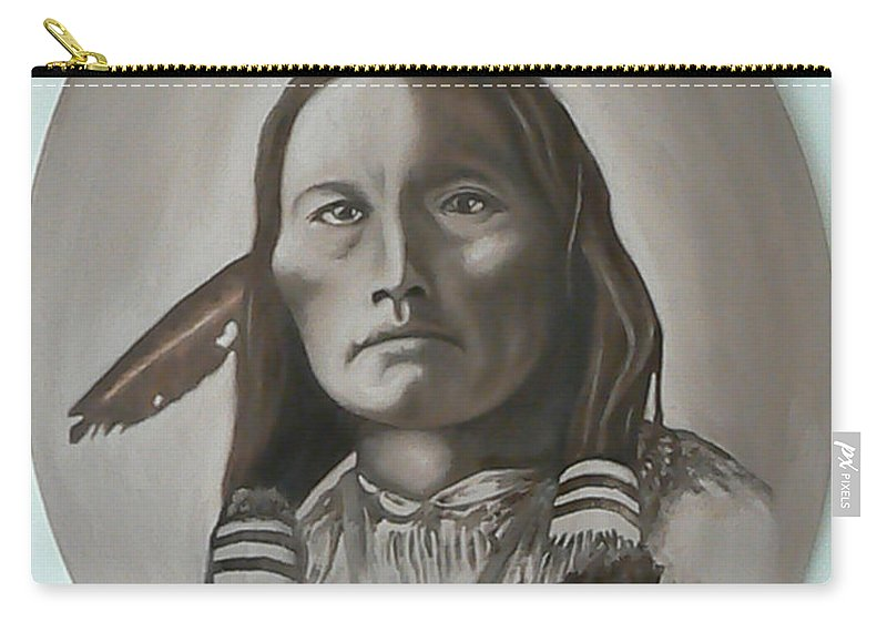 Michael Carry-all Pouch featuring the painting Three Fingers by Michael TMAD Finney