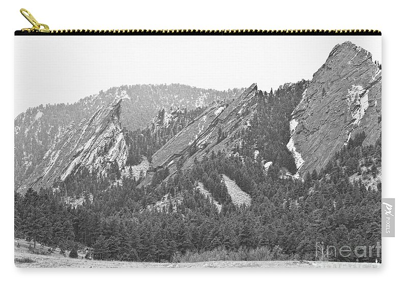 Flatirons Carry-all Pouch featuring the photograph Three Flatirons Boulder Colorado Black And White by James BO Insogna